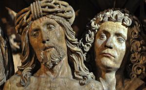 Postkartenmotiv Jesus und Johannes im Sonnenlicht