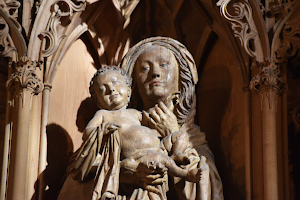 Postkartenmotiv Jesus und Maria im Sonnenlicht